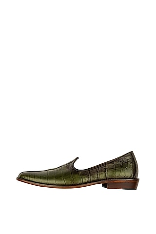 Olive Green Hand Painted Patina Juttis by Kavith