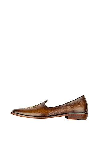 Brown Butta Embroidered Patina Juttis by Kavith