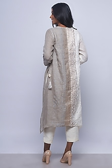 Off White & Grey Printed Embellished Tunic by Kaveri