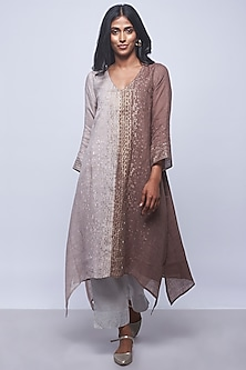 Brown & Beige Printed Embellished Tunic by Kaveri