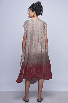 Beige Brown Ombre Printed Dress by Kaveri
