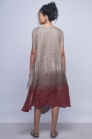 Beige Brown Ombre Printed Dress by Kaveri
