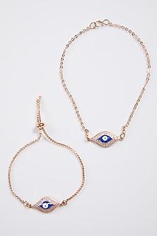 Rose Gold Evil Eye Bracelet Rakhis (Set Of 2) by Kara Viyad-SEND RAKHIS TO SINGAPORE