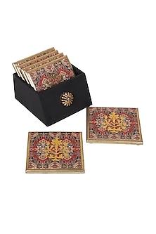 Multicolor Wooden & Resin Kama Coasters (Set of 6) by Karo