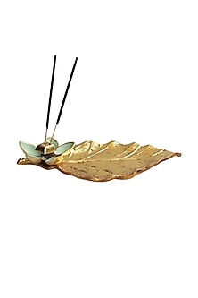 Green Metal & Gold Leaf Incense Holder by Karo