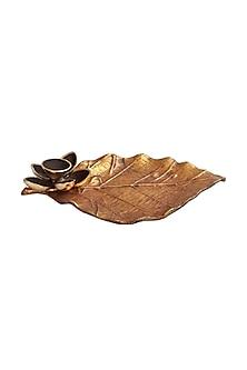 Brown Metal & Gold Leaf Dhoop Stand by Karo