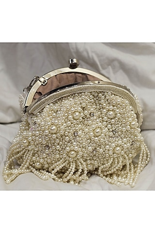 White Sequins Hand Embroidered Clutch by EENA