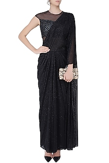 Black Shimmer and Cutdana Embroidered Drape Saree by Kamaali Couture