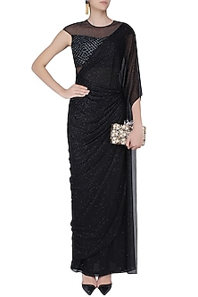 Black Shimmer and Cutdana Embroidered Pleated Drape Saree by Kamaali Couture