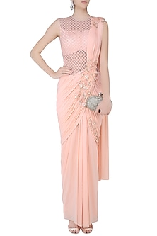 Pink 3D Floral Motifs and Cutdana Embellished Drape Saree by Kamaali Couture