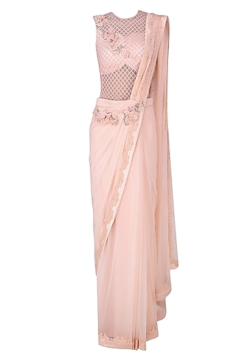 Pink 3D Floral Motifs and Alser Cutwork Drape Saree by Kamaali Couture