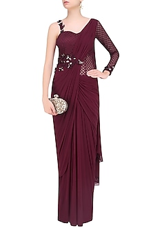 Maroon One Sleeves Floral Embroidered Drape Saree by Kamaali Couture