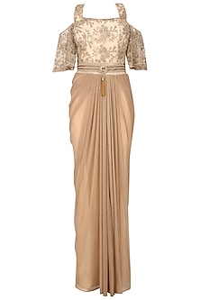 Beige Gold Floral Work Cold Shoulder Drape Saree by Kamaali Couture
