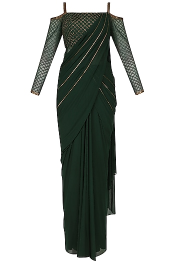 Green Cold Shoulder Drape Saree by Kamaali Couture