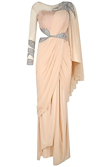 Pink and Silver Embroidered Saree Gown by Kamaali Couture