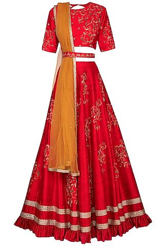 Cherry Red Embroidered Lehenga Set by Kazmi India