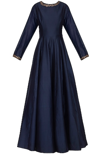 Indigo Blue Anarkali Gown with Embroidered Dupatta by Kazmi India