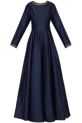 Indigo Blue Anarkali Gown with Embroidered Dupatta by Kazmi India