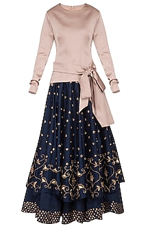Indigo Blue Embroidered Lehenga Skirt With Top by Kazmi India