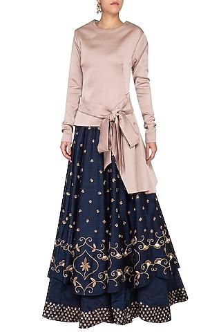 Indigo Blue Embroidered Lehenga Skirt With Top by Kazmi India