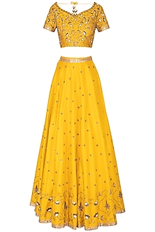 Tuscan Sun Yellow Embroidered Lehenga Set by Kazmi India