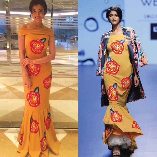 Yellow Rose Embroidered Fit And Flare Gown by Urvashi Joneja