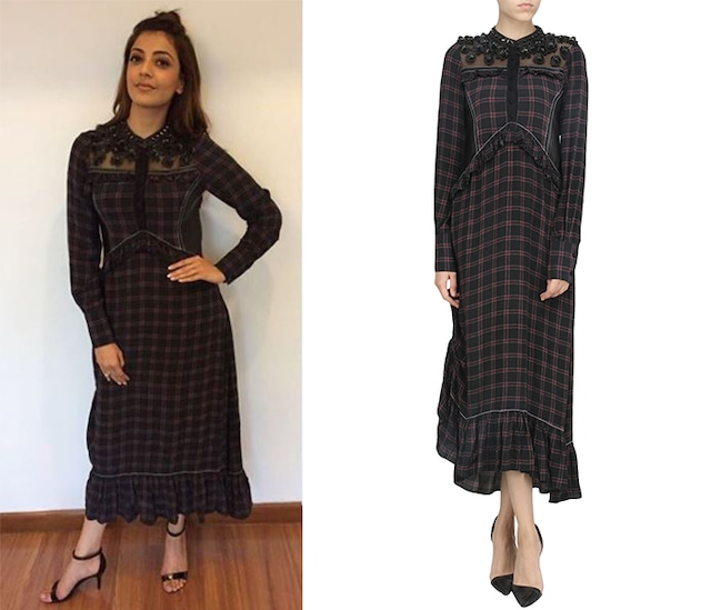 Black Check Ruffled Dress by Dhruv Kapoor