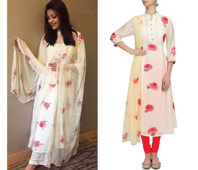 Cream and Red Rose Print A Line Kurta with Dupatta by Picchika by Urvashi Sethi
