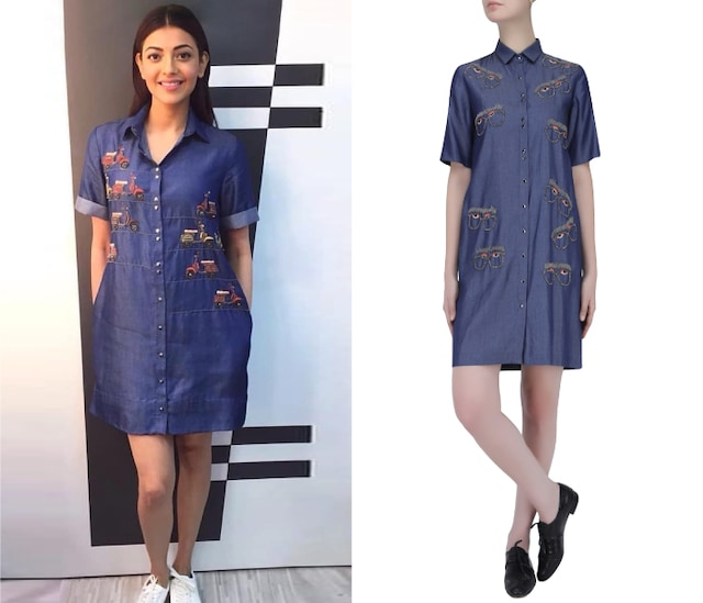 Blue Beads Embroidered Specky Eyes Motif Denim Shirt Dress by Shahin Mannan