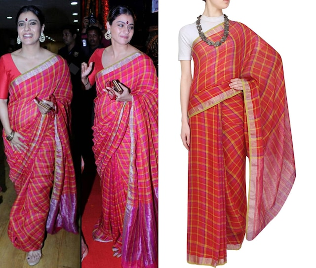 Red checks zari border sari with running blouse piece by Anavila
