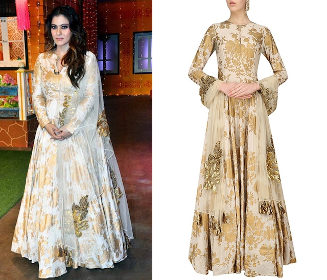 Ivory Anarkali With Embroidered Dupatta by Bhumika Sharma