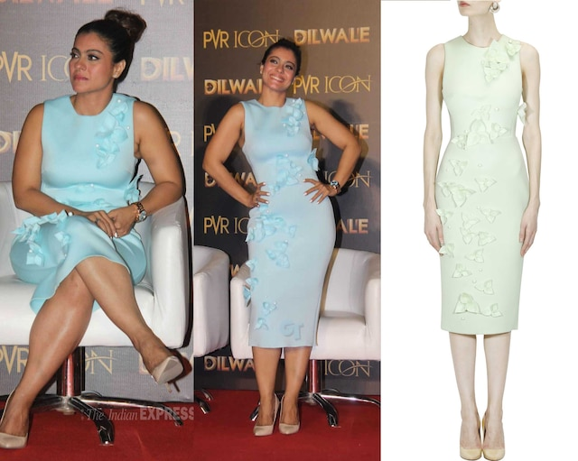 Mint green 3D textured flowers and leaves pencil dress by Gauri And Nainika