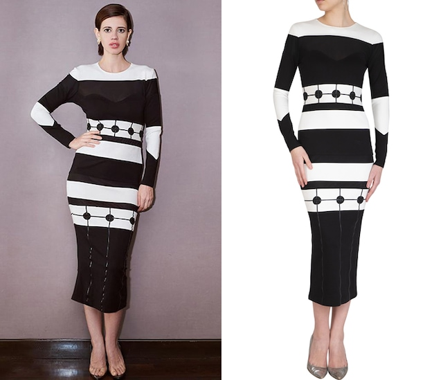 Black Monochromatic Embroidered Bodycon Dress by Sameer Madan