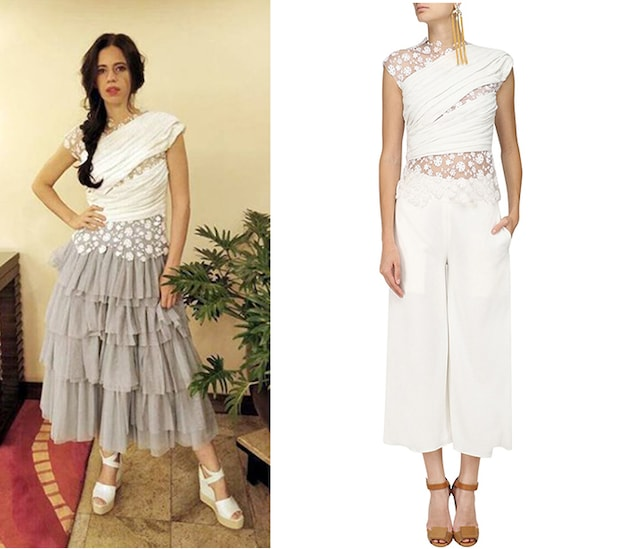 Ivory Floral Embroidered Top and Culottes Set by Bhaavya Bhatnagar