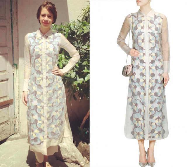 Off white bugal beads embroidered long shirt dress by Not So Serious By Pallavi Mohan