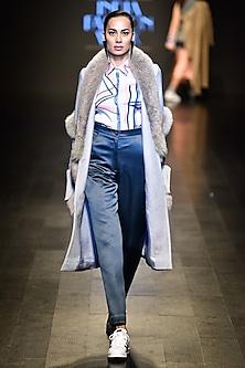 Grey faux fur long jacket by Kanika Goyal