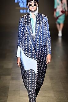Teal reflective stereoscopic jacket by Kanika Goyal