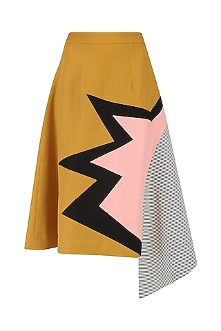 Mustard Striped Leather Panel Bolt Skirt by Kanika Goyal