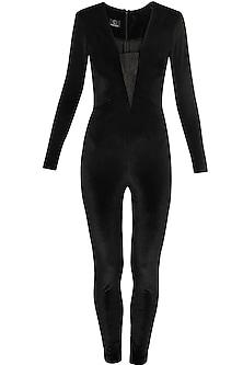 Black full sleeves stretchable jumpsuit by Kanika Goyal