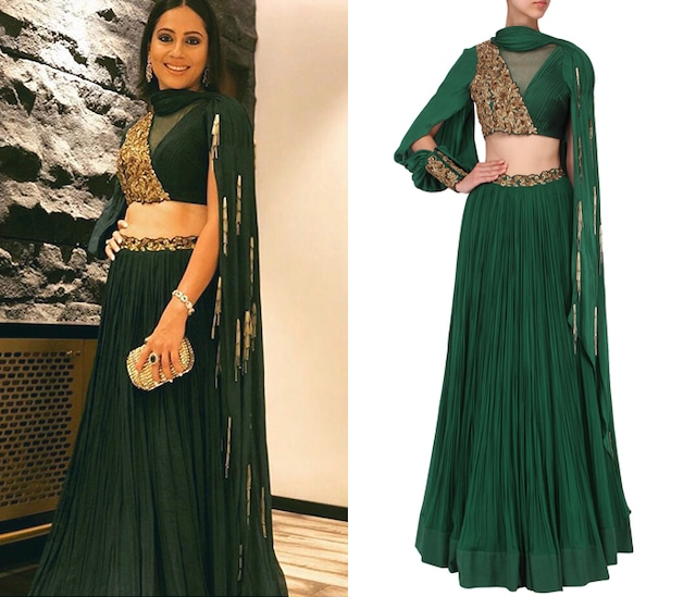 Bottle Green Embroidered Lehenga Set by Nitika Kanodia Gupta