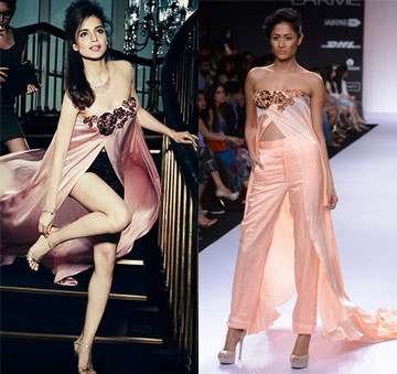 Rose pink embellished cape with pants by Nikhil Thampi