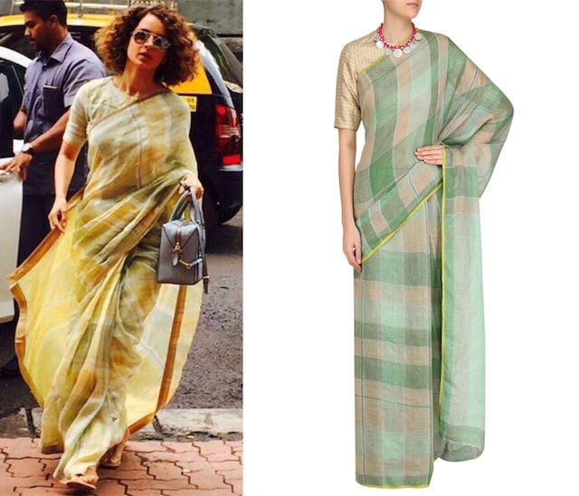Green Checkered And Yellow Border Saree with an Unstitched Blouse by Anavila