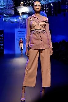 Dirty Pink Drop Shoulder Shirt by Kanika Goyal