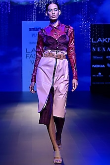 Maroon Front Open Midi Dress by Kanika Goyal