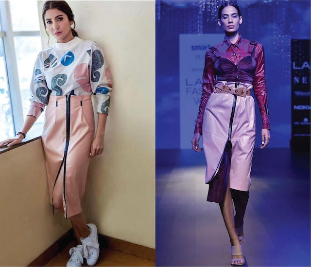 Pink Leather High Waisted Skirt by Kanika Goyal