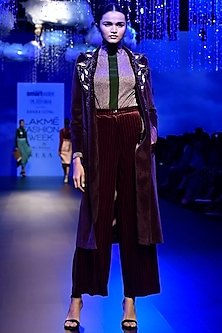 Dark Maroon Embellished Coat by Kanika Goyal