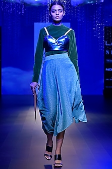 Green Shimmer Asymmetrical Midi Skirt by Kanika Goyal