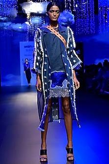 Blue Denim Mesh Dress by Kanika Goyal