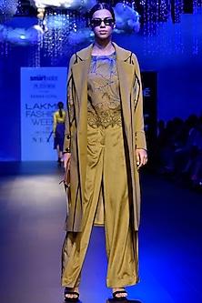 Ochre Slit Sleeves Coat by Kanika Goyal