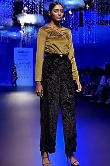 Black Velour Embellished Pants by Kanika Goyal